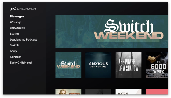 LifeChurch.tv tvOS | Sidebar