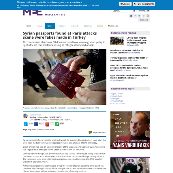 Syrian passports found at Paris attacks scene were fakes made in Turkey