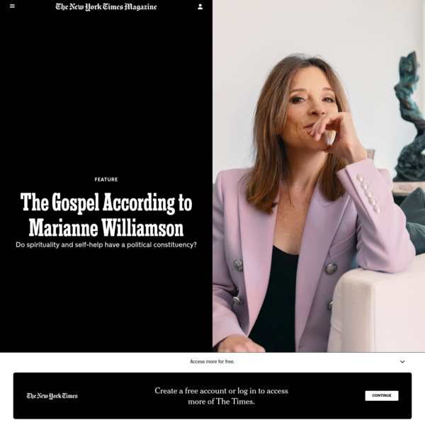 The Gospel According to Marianne Williamson - The New York Times