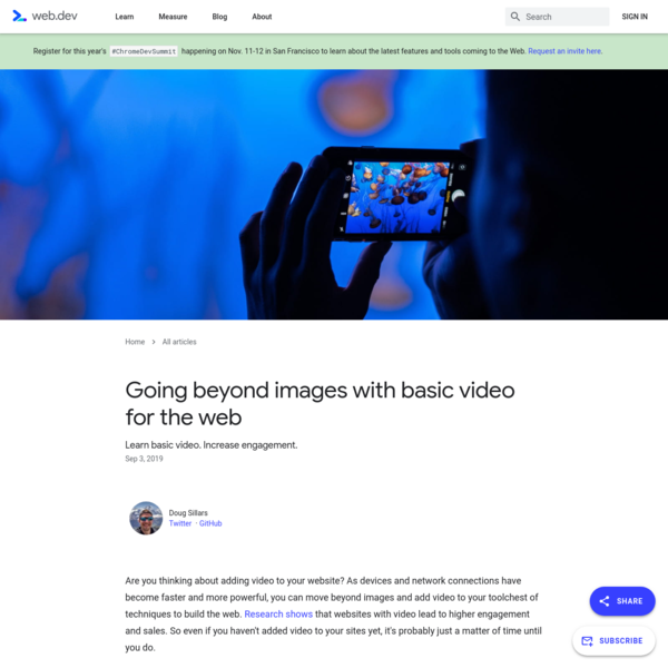Going beyond images with basic video for the web | web.dev