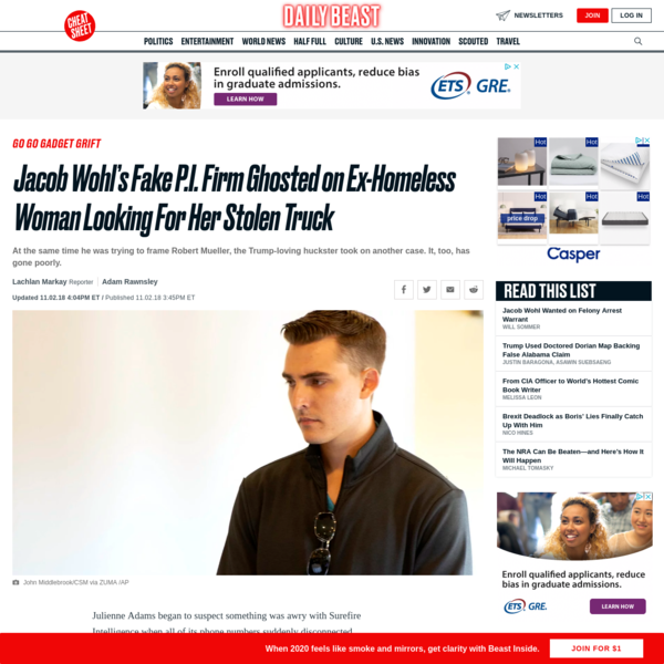 Jacob Wohl's Fake P.I. Firm Ghosted on Ex-Homeless Woman Looking For Her Stolen Truck