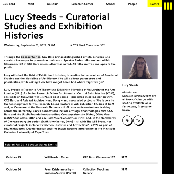 Lucy Steeds - Curatorial Studies and Exhibition Histories - CCS Bard