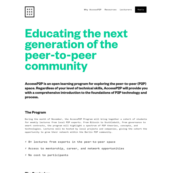 Educating the next generation of the peer-to-peer community