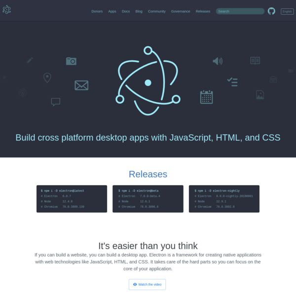 Electron | Build cross platform desktop apps with JavaScript, HTML, and CSS.