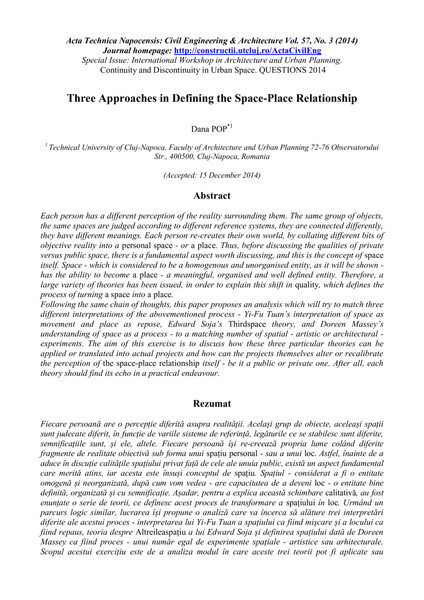 Three Approaches in Defining the Space-Place Relationship
