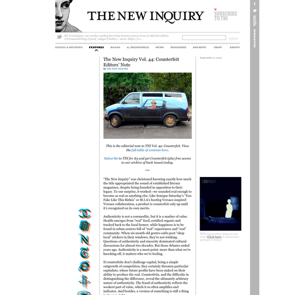 The New Inquiry Vol. 44: Counterfeit Editors' Note