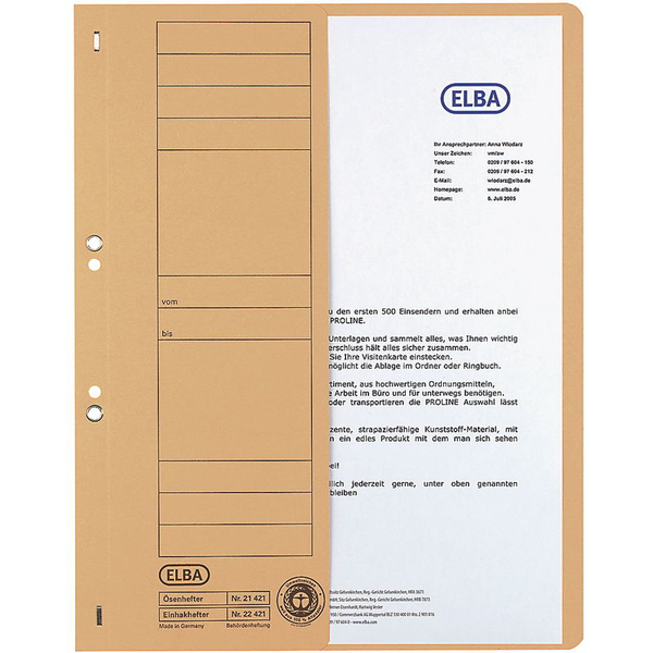 Elba Hole-Punched Folders Commercial Half Front Cover