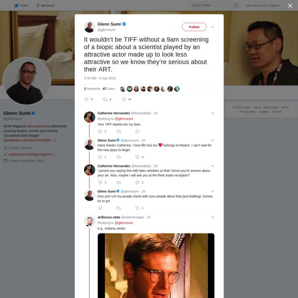 Glenn Sumi on Twitter