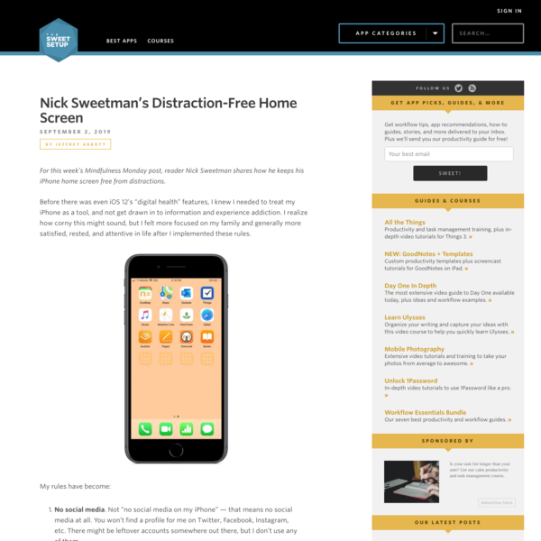 Nick Sweetman's Distraction-Free Home Screen - The Sweet Setup