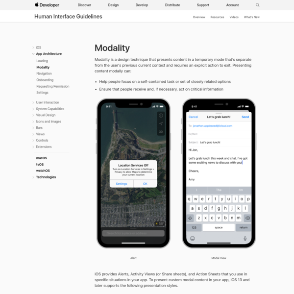 Modality - App Architecture - iOS - Human Interface Guidelines - Apple Developer