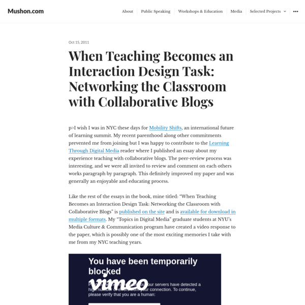 When Teaching Becomes an Interaction Design Task: Networking the Classroom with Collaborative Blogs