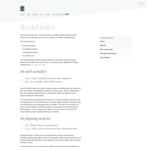 Social rules - Recurse Center