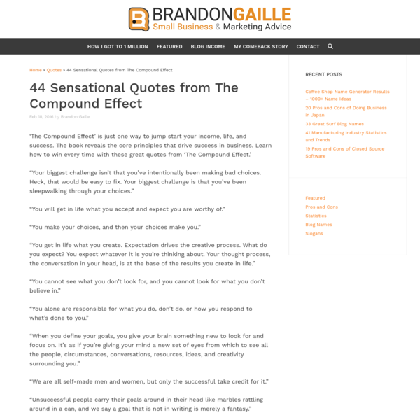 44 Sensational Quotes from The Compound Effect - BrandonGaille.com