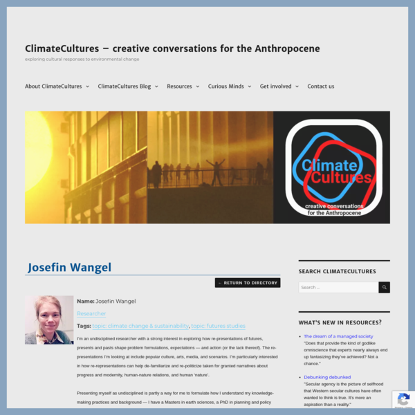 Josefin Wangel | ClimateCultures - creative conversations for the Anthropocene