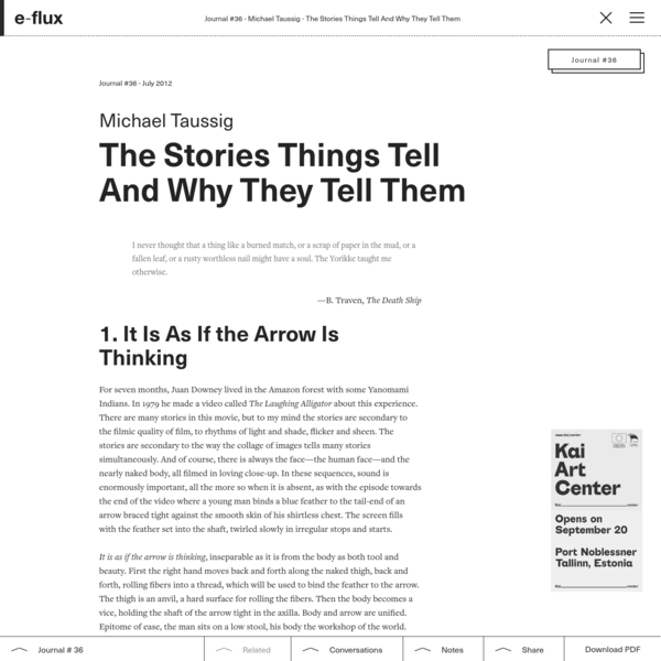 The Stories Things Tell And Why They Tell Them