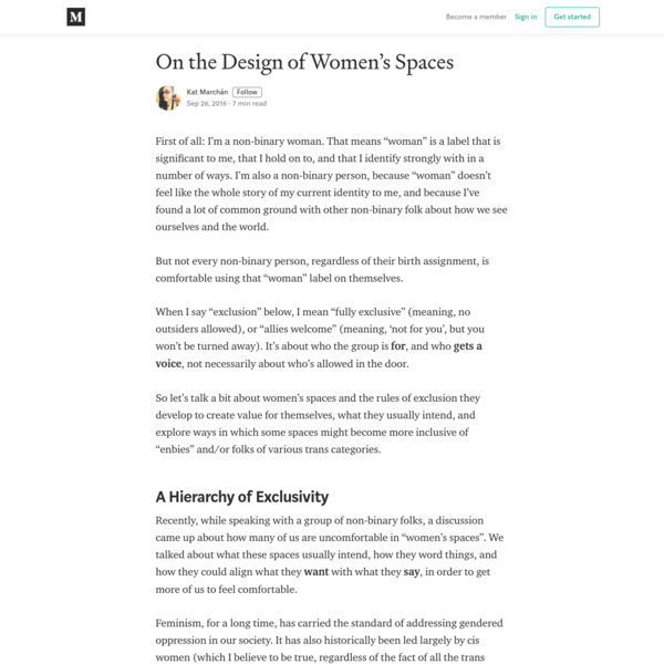 On the Design of Women's Spaces