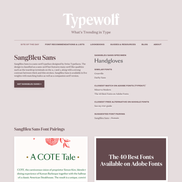 SangBleu Sans Font Combinations & Free Alternatives · Typewolf