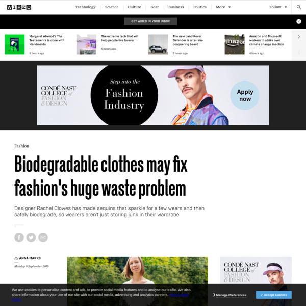 Biodegradable clothes may fix fashion's huge waste problem