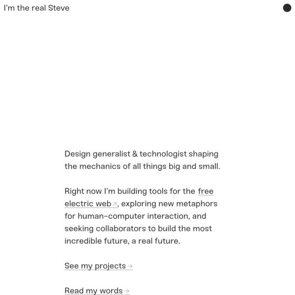 Steve (Kistner) is not a designer nor technologist nor developer nor artist