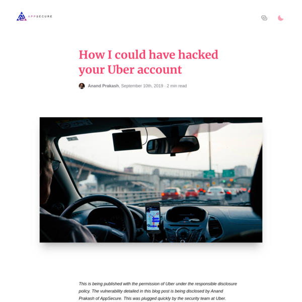 How I could have hacked your Uber account