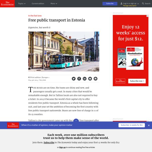 In the fast lane - Free public transport in Estonia | Europe | The Economist
