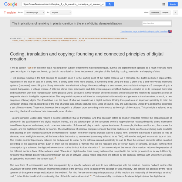 (EN) Coding translation and copying the founding and related principles of digital creation