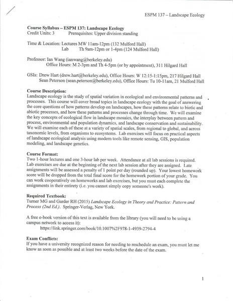 UC Berkeley ESPM137: Landscape Ecology