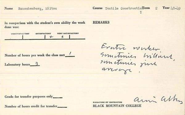 Robert Rauschenberg's report card from his 1948–49 academic year spent at Black Mountain College.