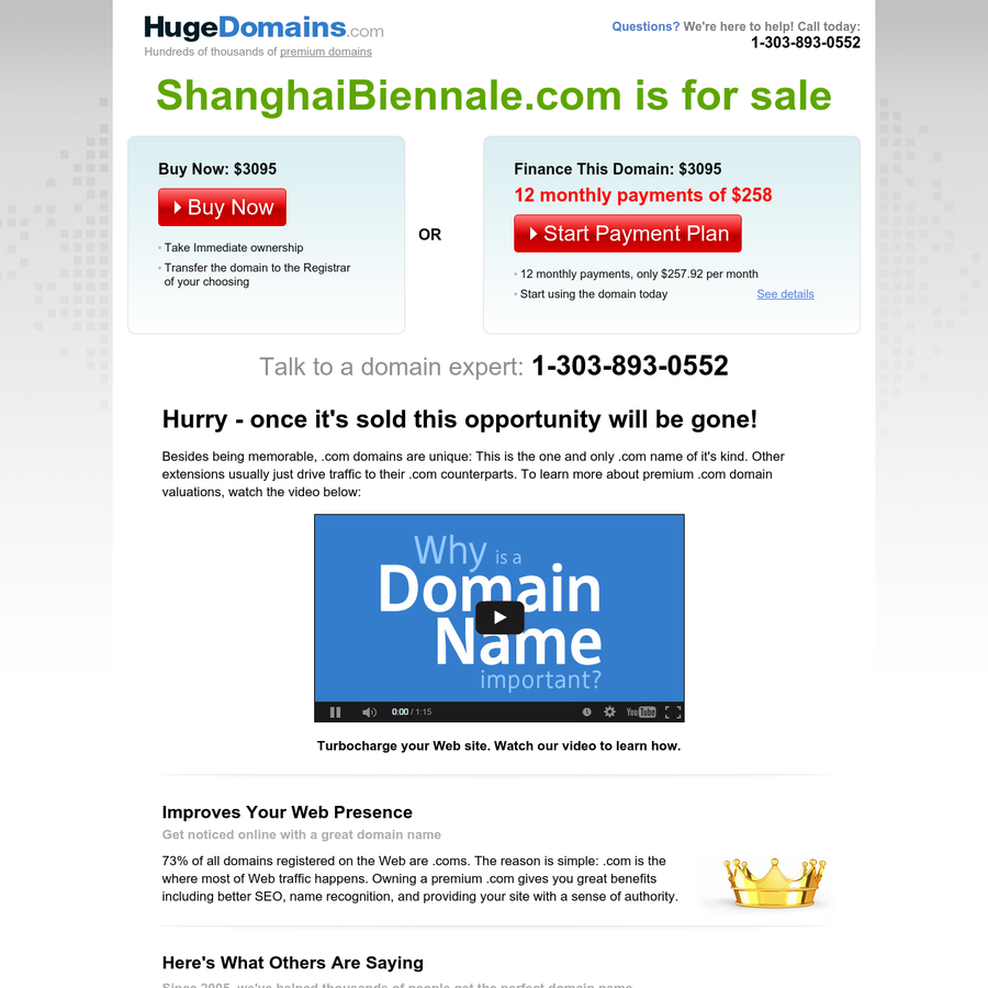 Besides being memorable, .com domains are unique: This is the one and only .com name of it's kind. Other extensions usually just drive traffic to their .com counterparts. To learn more about premium .com domain valuations, watch the video below:
