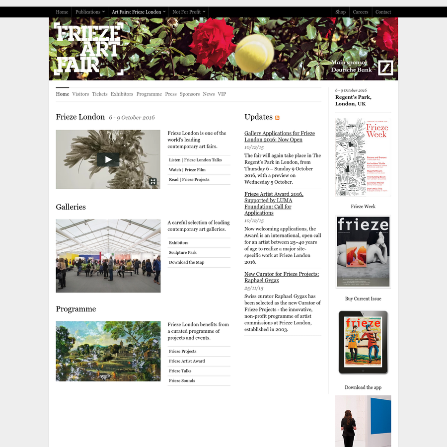 Frieze London is one of the world's leading contemporary art fairs.