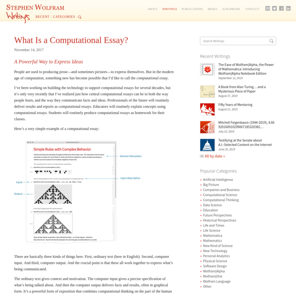 What Is a Computational Essay?-Stephen Wolfram Writings