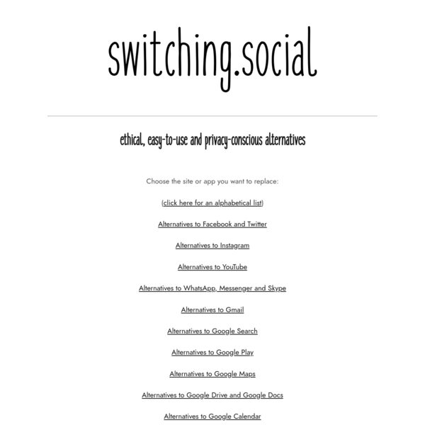 switching.social - Ethical alternatives to popular sites and apps