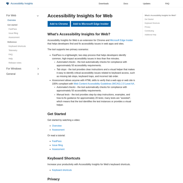 Accessibility Insights for Web · Accessibility Insights