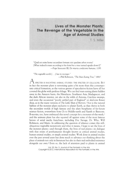 Lives of the Monster Plants: The Revenge of the Vegetable in the Age of Animal Studies