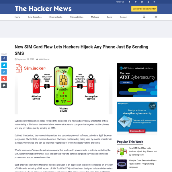New SIM Card Flaw Lets Hackers Hijack Any Phone Just By Sending SMS
