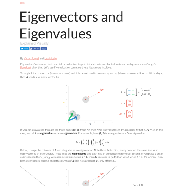 Eigenvectors and Eigenvalues explained visually