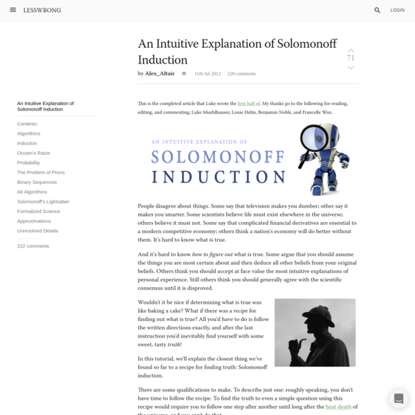 An Intuitive Explanation of Solomonoff Induction - LessWrong 2.0