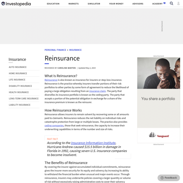 Reinsurance: Insurance for the Insurer