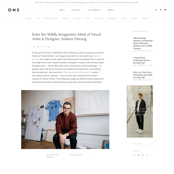 ONS Clothing interview with Andrew Herzog, Visual Artist and Designer