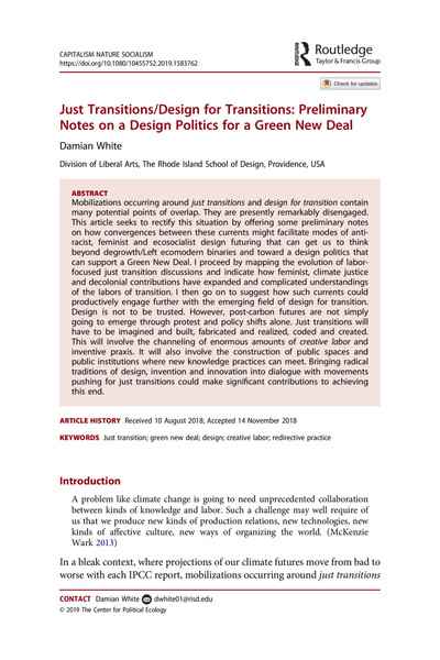 Just Transitions/Design for Transitions: Preliminary Notes on a Design Politics for a Green New Deal - Damian White