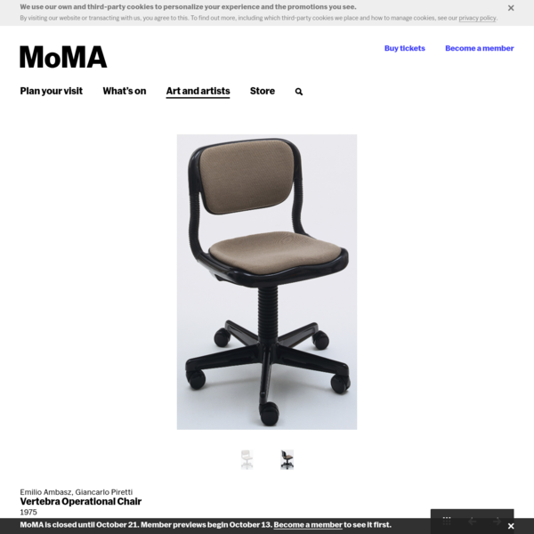 Emilio Ambasz, Giancarlo Piretti. Vertebra Operational Chair. 1975 | MoMA