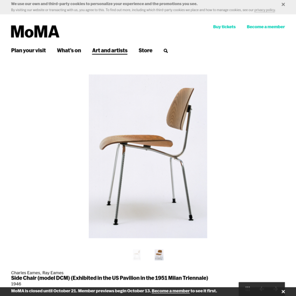 Charles Eames, Ray Eames. Side Chair (model DCM) (Exhibited in the US Pavilion in the 1951 Milan Triennale). 1946 | MoMA