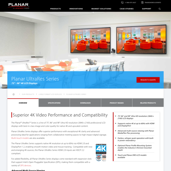 "75"", 86"", & 98"" 4K LCD Displays - Planar UltraRes"