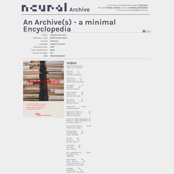 An Archive(s) - a minimal Encyclopedia