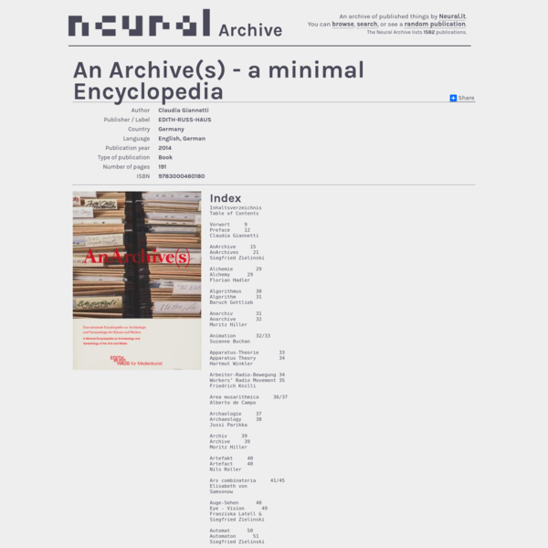 An Archive(s) - a minimal Encyclopedia