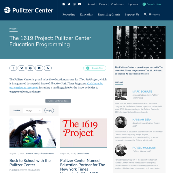 The 1619 Project: Pulitzer Center Education Programming