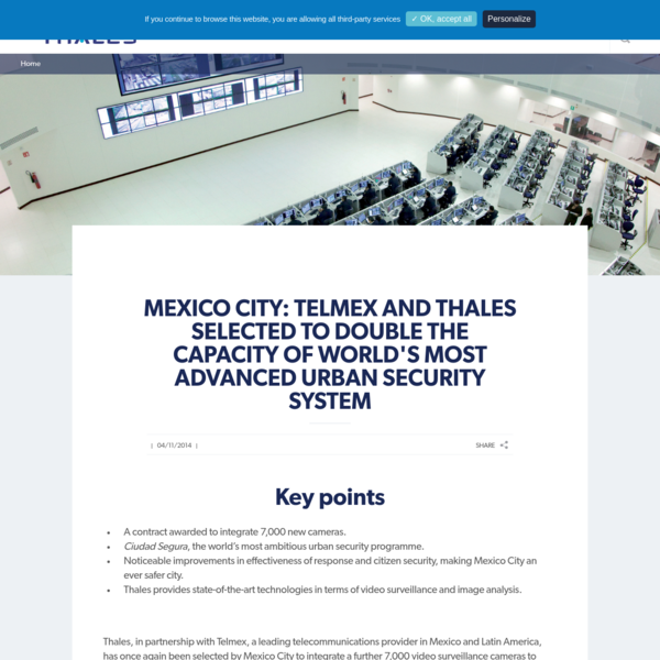 Mexico City: Telmex and Thales selected to double the capacity of world's most advanced urban security system