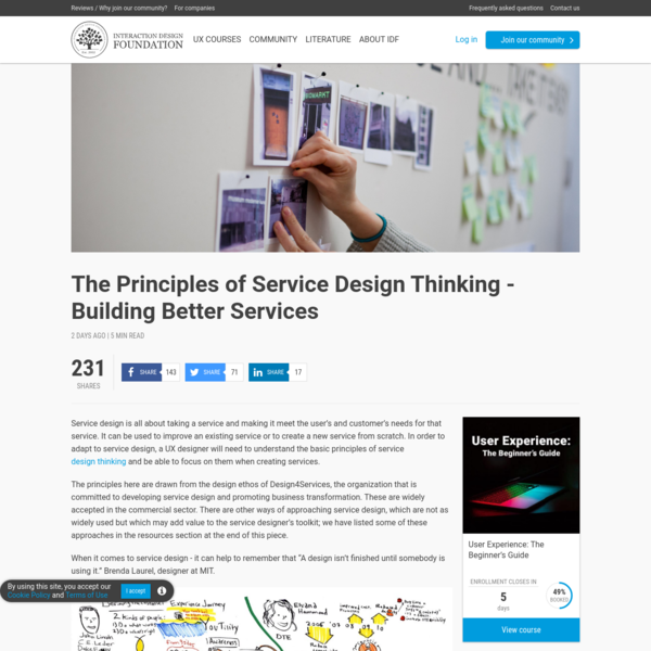 The Principles of Service Design Thinking - Building Better Services