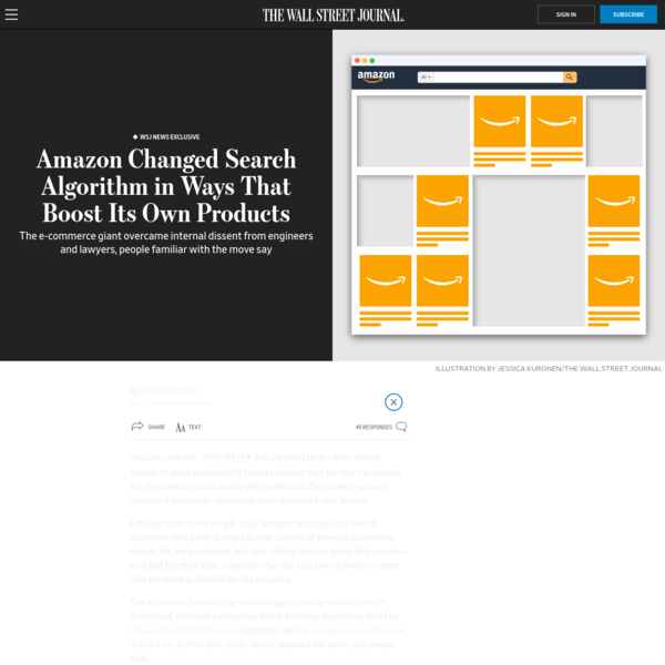 WSJ News Exclusive | Amazon Changed Search Algorithm in Ways That Boost Its Own Products