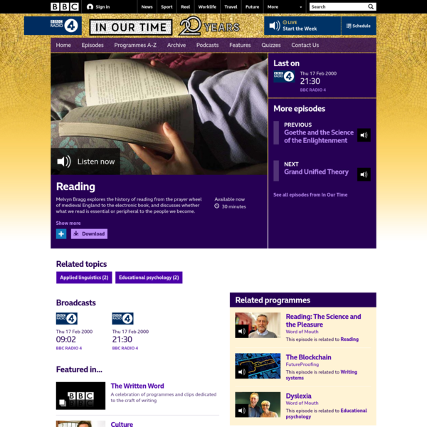 BBC Radio 4 - In Our Time, Reading